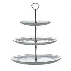 Retro 3 Tier Cake Stand with Glass Plates